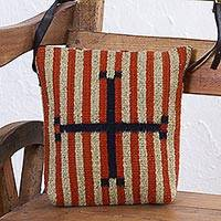 Zapotec wool shoulder bag, 'Cardinal Points' - Wool Shoulder Bag with Leather Adjustable Leather Strap