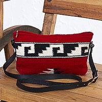 Zapotec wool shoulder bag, 'Mitla in Red' - Zapotec Red Wool Shoulder Bag with Adjustable Leather Strap