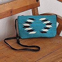 Wool sling handbag, 'Woven Generations' - Hand Made Wool Sling Handbag Caribbean Blue from Mexico