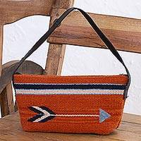 Zapotec wool baguette handbag, 'Pumpkin Arrow' - Hand Made Wool Baguette Handbag in Pumpkin from Mexico