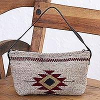 Zapotec wool baguette handbag, 'Godlike Eye in Khaki' - Zapotec Wool Baguette Handbag in Khaki from Mexico