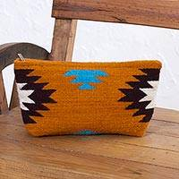 Zapotec wool clutch handbag, 'Autumn Sunrise' - Hand Made Wool Clutch Handbag Sunrise from Mexico