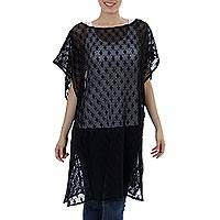 Cotton caftan, 'Mysterious Black' - 100% Cotton Mesh Caftan in Black from Mexico