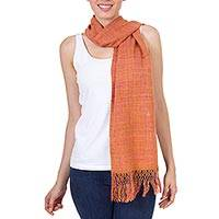 Silk scarf, 'Sunrise Beauty' - Sunrise Orange Hand Woven Silk Scarf from Mexico
