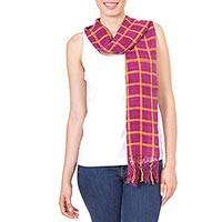 Silk scarf, 'Mexican Fringe in Magenta' - Fair Trade Hand Woven Silk Oaxaca Scarf in Magenta and Amber
