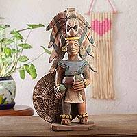 Ceramic sculpture, 'Aztec Warrior with Rattles' - Handmade Ceramic Sculpture of Aztec Warrior from Mexico