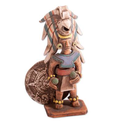 Handmade Ceramic Sculpture of Aztec Warrior from Mexico