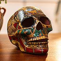 Ceramic sculpture, 'Story of Death' - Handcrafted Multicolor Ceramic Skull Sculpture from Mexico