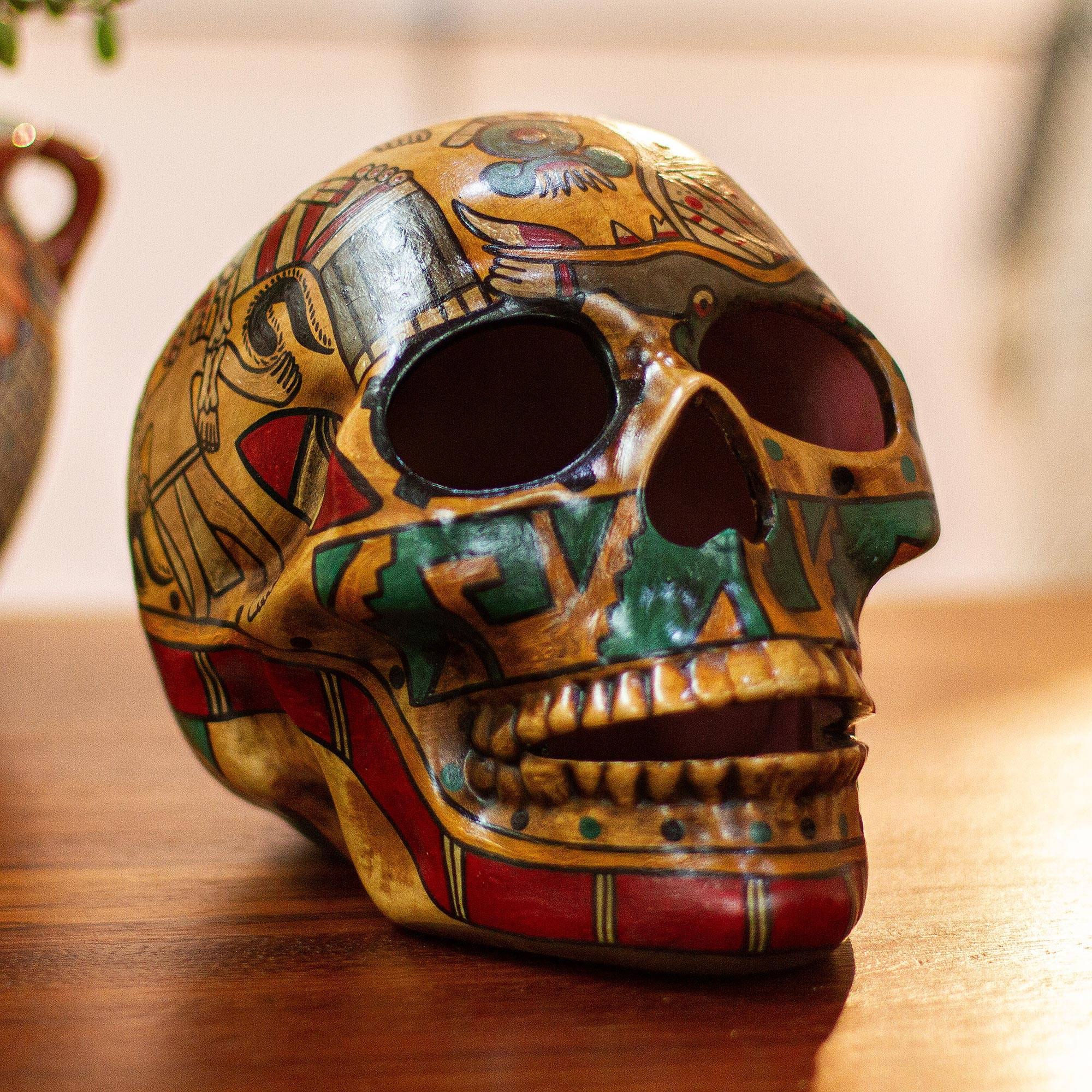 Story of Death Handcrafted Multicolor Ceramic Skull Sculpture from Mexico Day of the dead