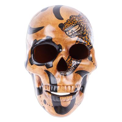 Ceramic sculpture, 'Balam Jaguar' - Handcrafted Mayan Ceramic Skull Sculpture from Mexico