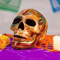 Ceramic sculpture, 'Quetzalcóatl' - Mexican Ceramic Skull Sculpture with Quetzalcóatl