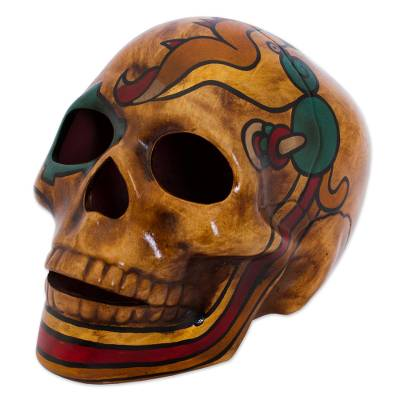 Ceramic sculpture, 'Quetzalcóatl' - Mexican Ceramic Skull Sculpture with Quetzalcóatl