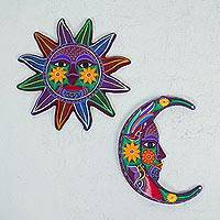 Ceramic wall art, 'Purple Sun and Moon' (pair) - Ceramic Multicolored Sun Moon Wall Art (Pair) from Mexico