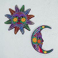 Ceramic wall art, 'Purple Sun and Moon' (pair) - Ceramic Multicolored Sun Moon Wall Art (Pair) from Mexico