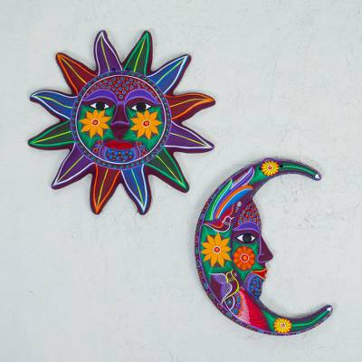 Sun And Moon Wall Art ceramic multicolored sun moon wall art (pair) from mexico - purple