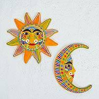 Ceramic wall art, 'Orange Sun and Moon' (pair)
