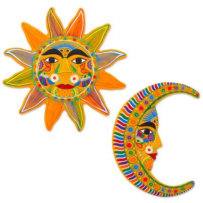 Ceramic Wall Art Orange Sun And Moon Pair