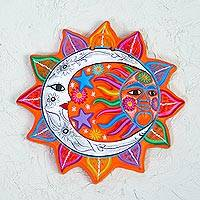 Ceramic wall art, 'Celestial Flower' - Multicolored Ceramic Sun and Moon Wall Art from Mexico