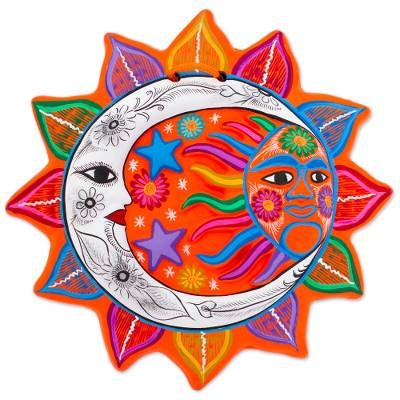 Ceramic Wall Art Celestial Flower Multicolored Sun And Moon