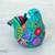 Ceramic sculpture, 'Teal Dove' - Ceramic Hand Painted Dove Sculpture Floral Motif from Mexico (image 2c) thumbail