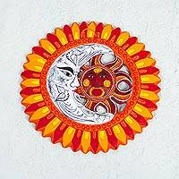 Ceramic wall art, 'Solar Union in Orange' - Orange Red Ceramic Wall Art Sun Moon from Mexico