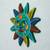Ceramic wall art, 'Teal Sun' - Multicolored Sun Ceramic Wall Art from Mexico (image 2b) thumbail