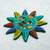 Ceramic wall art, 'Teal Sun' - Multicolored Sun Ceramic Wall Art from Mexico (image 2c) thumbail