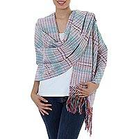 Cotton shawl, 'Striped Journeys' - 100% Cotton Multicolored Shawl from Mexico