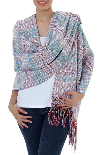 Cotton shawl, Striped Journeys