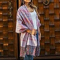 Cotton shawl, 'Candy Apple Journeys' - 100% Cotton Shawl Candy Apple Stripes from Mexico