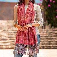 Cotton shawl, 'Crimson Journeys' - 100% Cotton Shawl Crimson Stripes from Mexico
