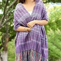 Cotton shawl, 'Blue-Violet Journeys' - 100% Cotton Shawl Blue-Violet Stripes from Mexico