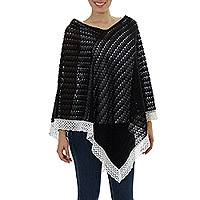 Cotton poncho, 'Mountain Ridges' - Knit 100% Cotton Poncho Black Champagne Mexico