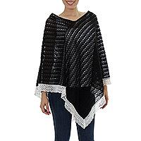 Cotton poncho, 'Mountain Ridges' - Knit 100% Cotton Poncho Black Champagne Mexico
