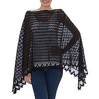 Cotton poncho, 'Mountain Ridges in Black' - 100% Cotton Poncho in Black from Mexico