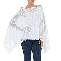 Cotton poncho, 'Mountain Ridges in Eggshell' - Hand Knit 100% Cotton Poncho in Eggshell White from Mexico