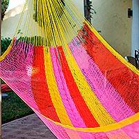 Hammock, 'Candy Delight' (single) - Hand Woven Nylon Pink Yellow Hammock (Single) from Mexico