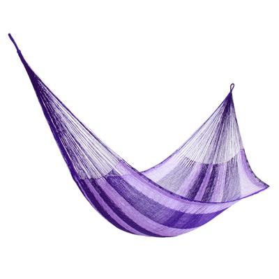Hand Woven Nylon Purple Hammock (Single) from Mexico