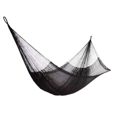 hammock  u0027black relaxation u0027  double    hand woven nylon black hammock   hand woven nylon black hammock  double  from mexico   black      rh   novica