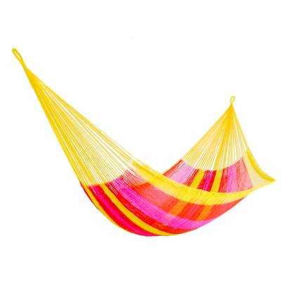 Hand Woven Nylon Pink Yellow Hammock (Double) from Mexico