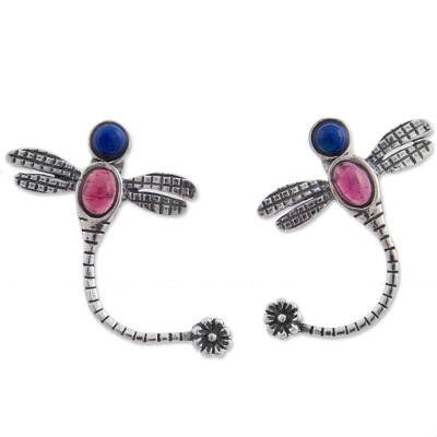 Garnet and lapis lazuli drop earrings, 'Dragonfly Tails' - Garnet and Lapis Lazuli Dragonfly Drop Earrings from Mexico