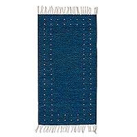 Wool area rug, 'Regal Moon' (2.5x5)