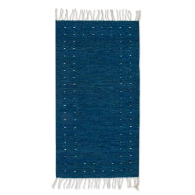 Wool area rug, 'Regal Moon' (2.5x5) - Hand Woven Wool Area Rug in Royal Blue (2.5x5) from Mexico