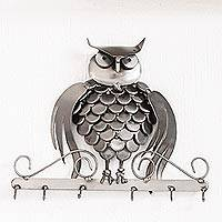 Recycled auto part key rack, 'Gateway Owl'