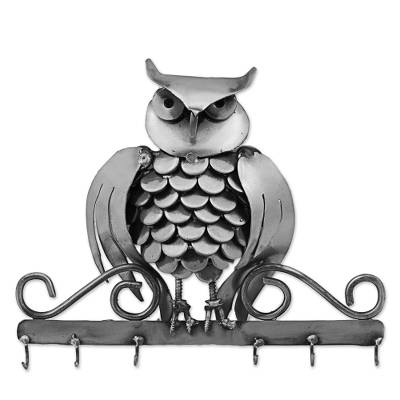 Recycled auto part key rack, 'Gateway Owl' - Upcycled Auto Part Key Rack Owl from Mexico