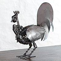 Recycled auto part sculpture, 'Mechanical Rooster' - Upcycled Auto Part Sculpture of a Rooster from Mexico