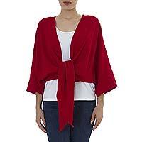 Cotton bolero jacket, 'Chamela Crimson' - Tie Front Open Back Red Cotton Bolero Jacket