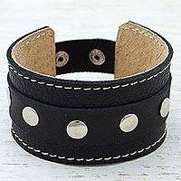 Leather wristband bracelet, 'Shining Dots' - Metal Accent Leather Wristband Bracelet Black from Mexico
