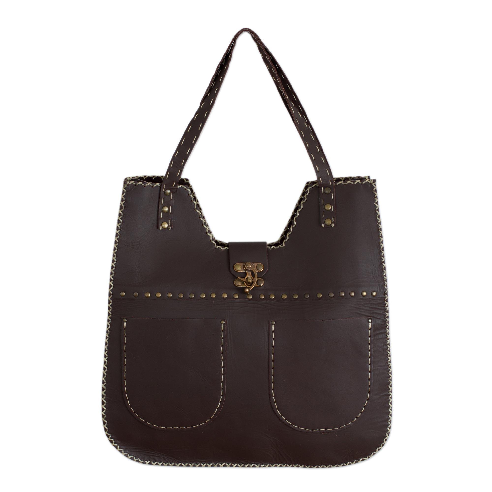Novica Leather shoulder bag, Espresso Delight