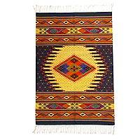 Wool area rug, 'Mariposas Under the Rain' (4x6.5) - Hand Woven Wool Area Rug Multicolored from Mexico (4x6.5)